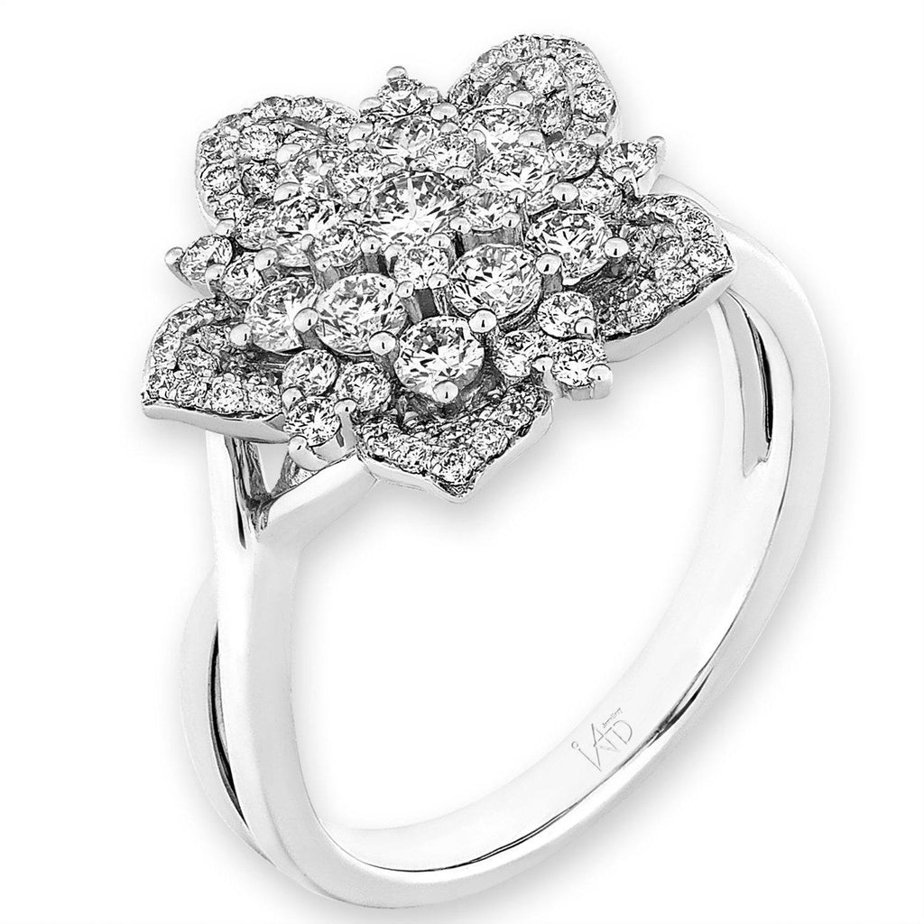 Flower Ring in 18k White Gold with Diamonds (0.956ct) Ring IAD