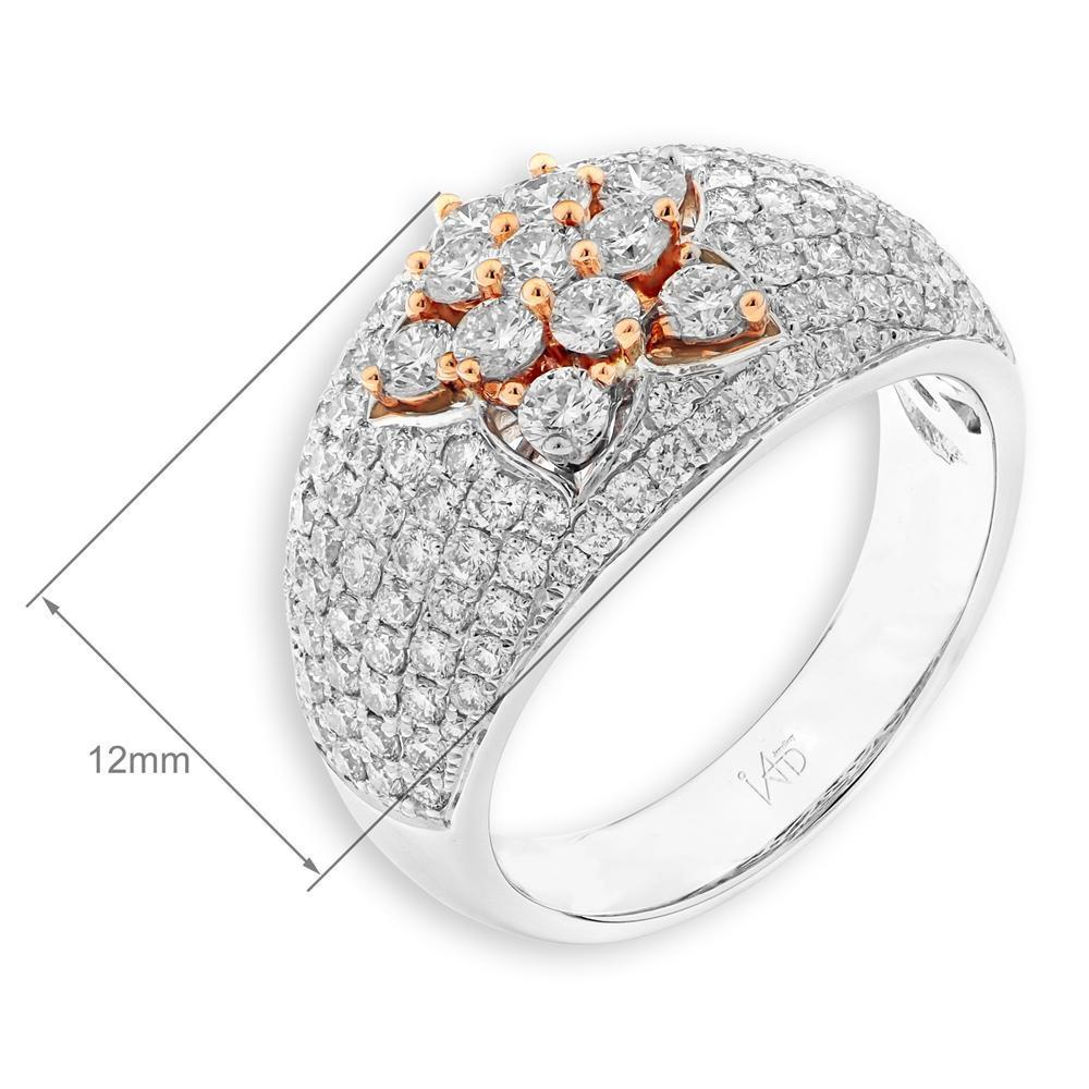 Flower Ring in 18k White & Rose Gold with Diamonds (1.642ct) Ring IAD