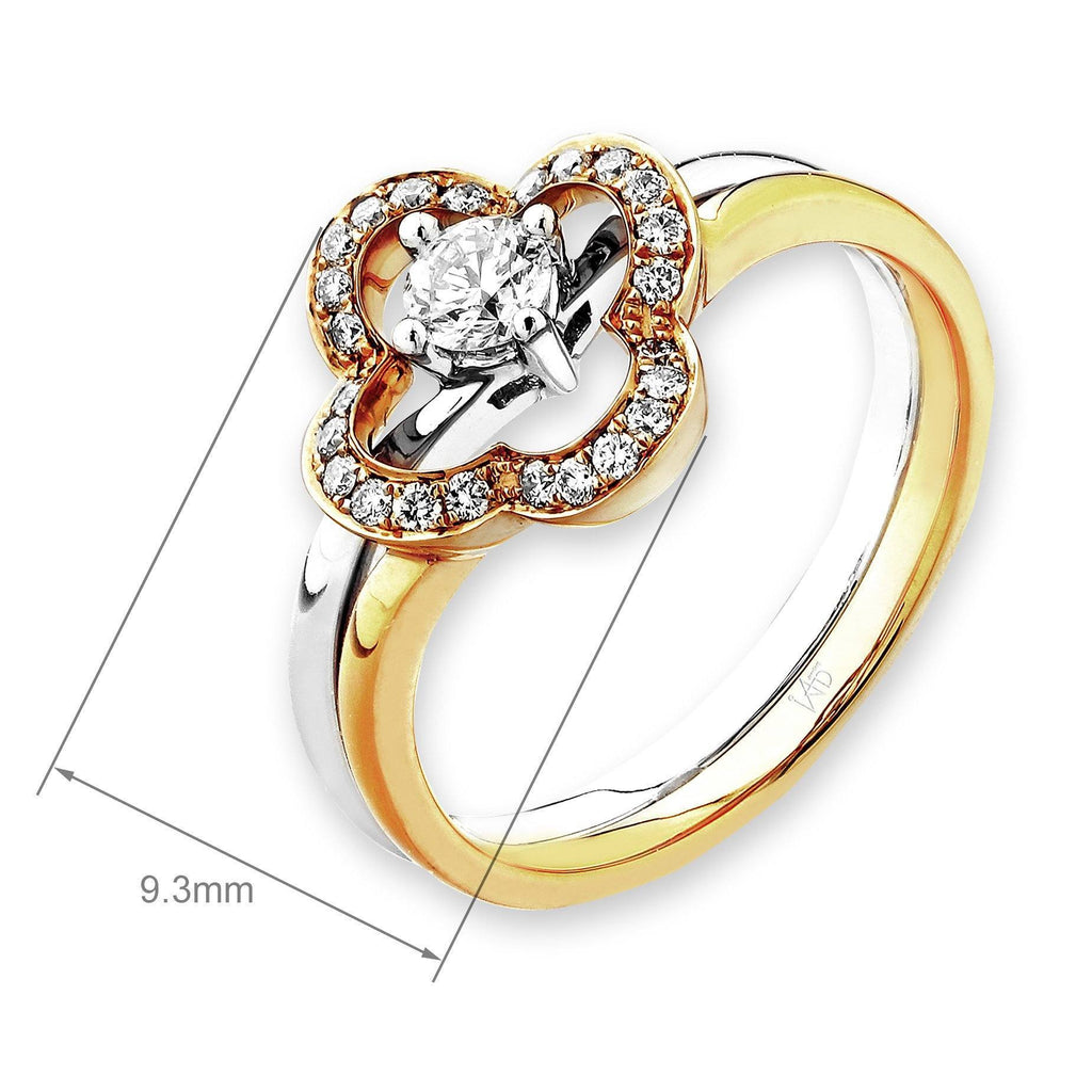 Flower Two-Piece Ring in 18k Yellow & White Gold with Diamonds (0.251ct) Ring IAD