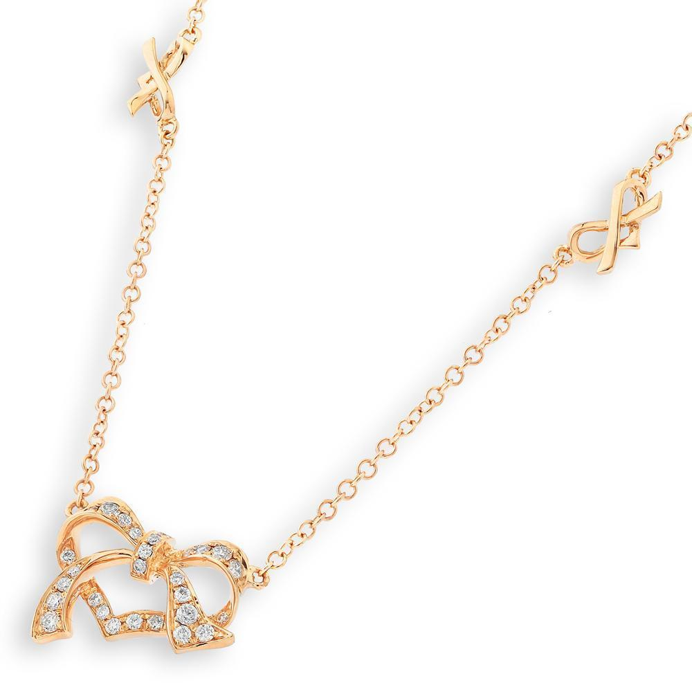 Heart Bow Necklace in 18k Rose Gold with Diamonds (0.182ct) Necklace IAD
