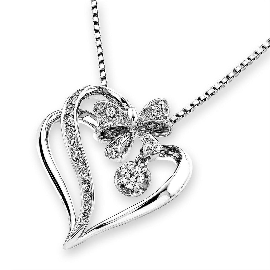 Heart Bow Pendant in 18k White Gold with Diamonds (0.269ct) Pendant IAD