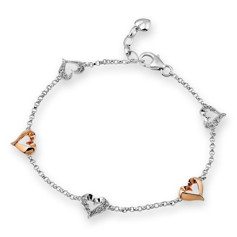Heart Bracelet in 18k White & Rose Gold with Diamonds (0.262ct) Bracelet IAD