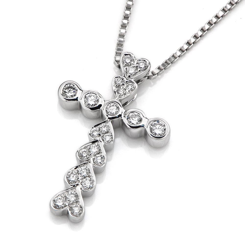 Heart Cross Pendant in 18k White Gold with Diamonds (0.225ct) Pendant IAD