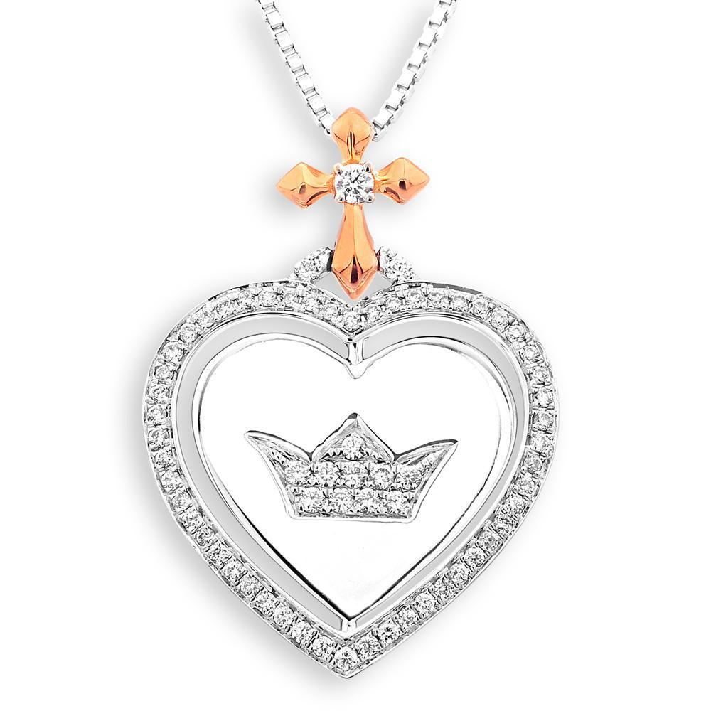 Heart Crown & Cross Pendant in 18k White & Rose Gold with 0.276ct Diamonds Pendant IAD