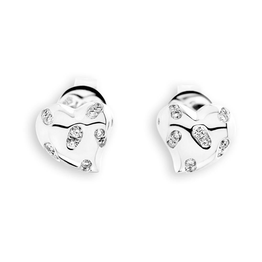 Heart Earrings in 18k White Gold with Diamonds (0.121ct) Earrings IAD