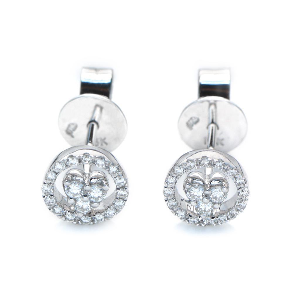 Heart Earrings in 18k White Gold with Diamonds (0.192ct) Earrings IAD