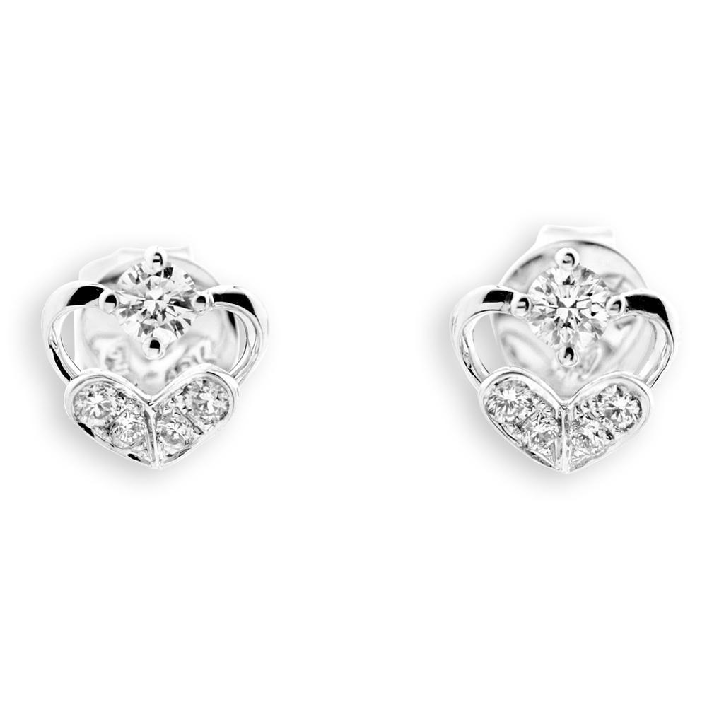 Heart Earrings in 18k White Gold with Diamonds (0.249ct) Earrings IAD