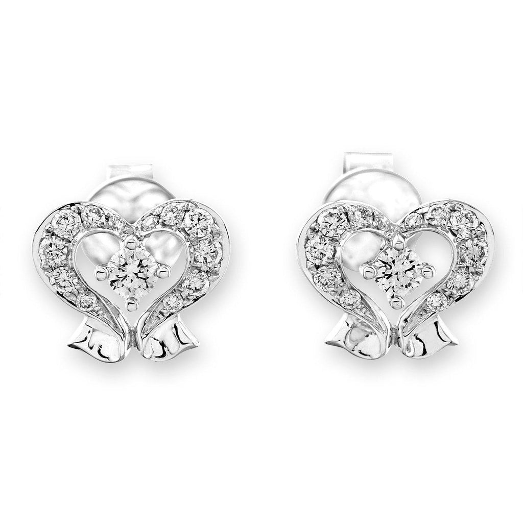Heart Earrings in 18k White Gold with Diamonds (0.291ct) Earrings IAD