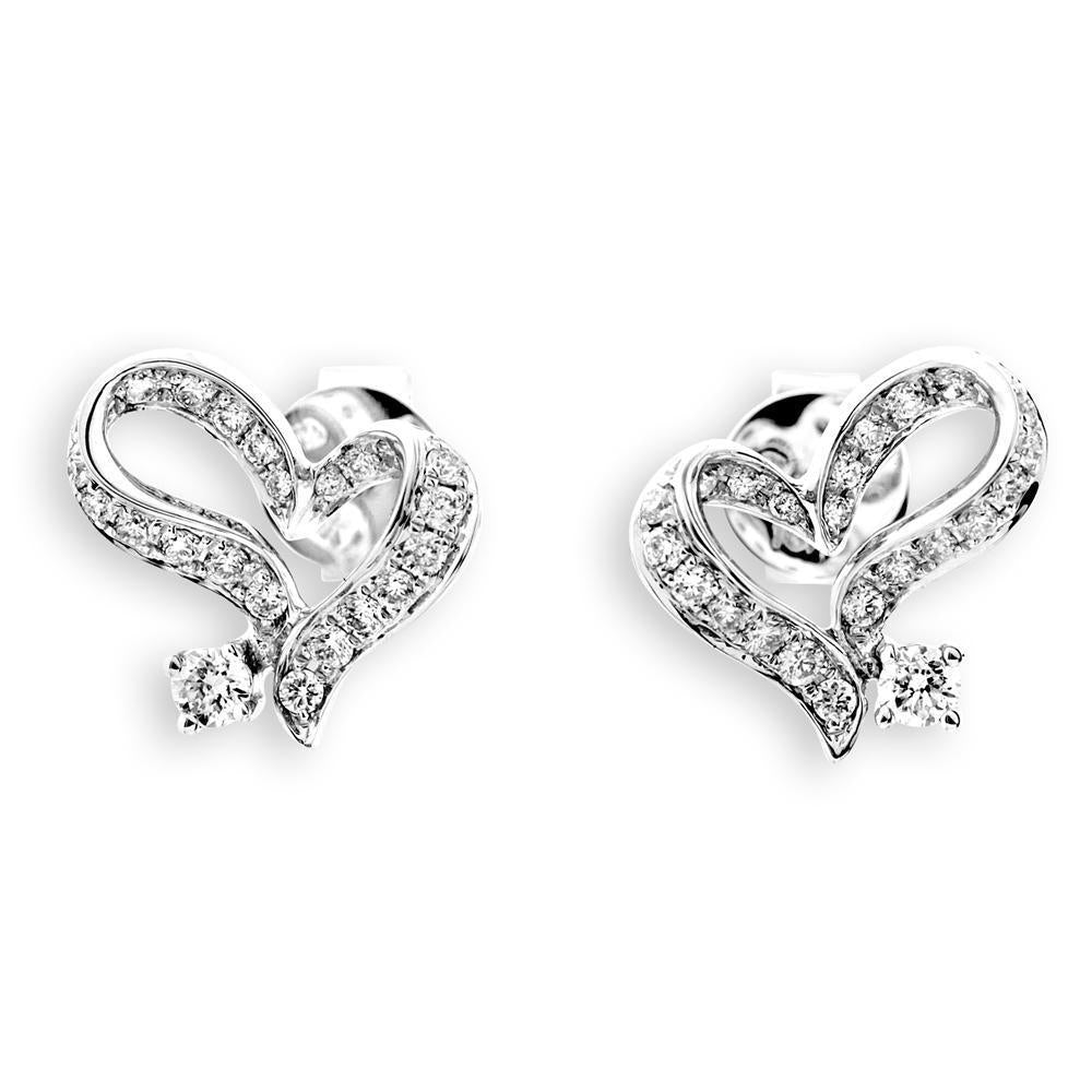 Heart Earrings in 18k White Gold with Diamonds (0.318ct) Earrings IAD
