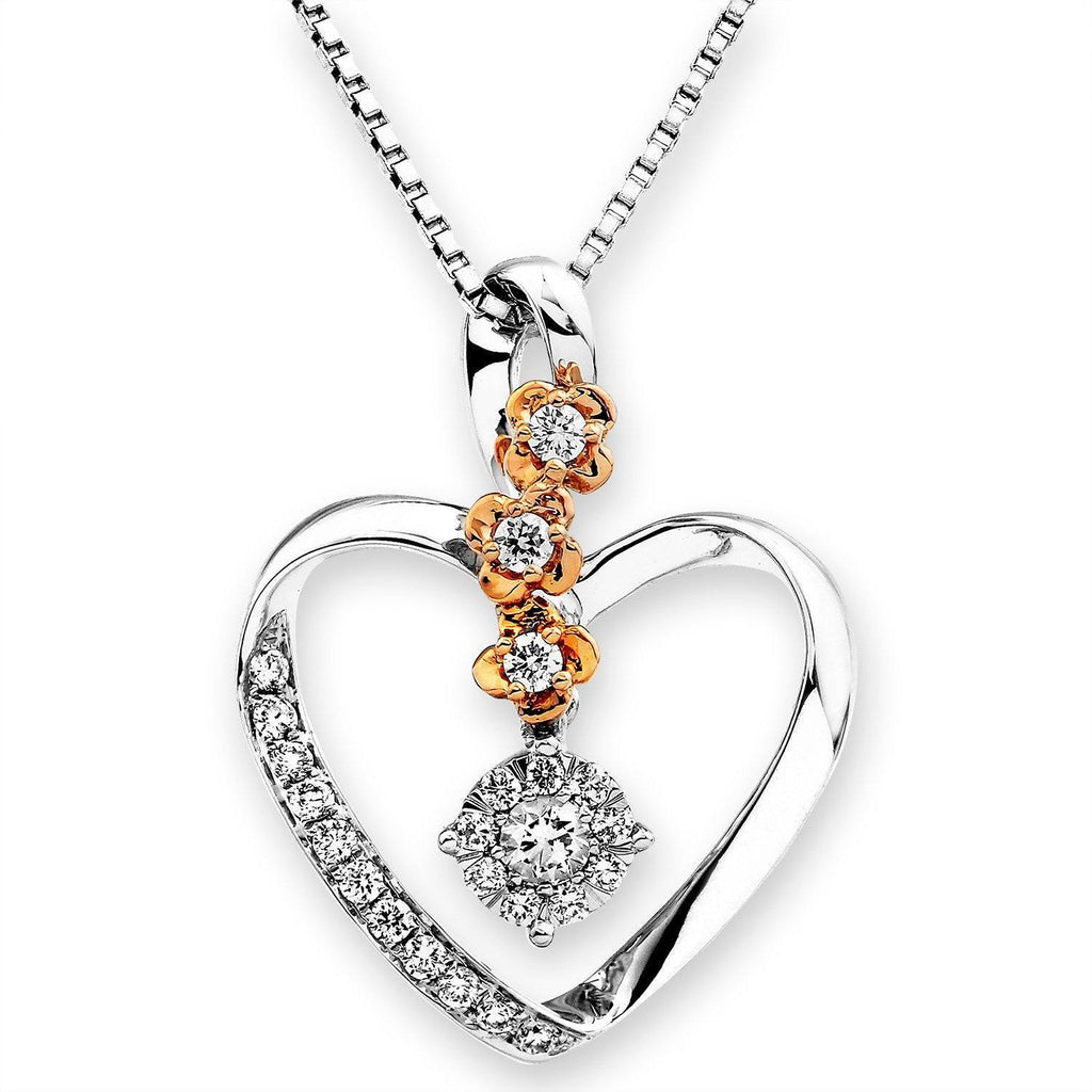 Heart Flower Pendant in 18k White & Rose Gold with Diamonds (0.253ct) Pendant IAD