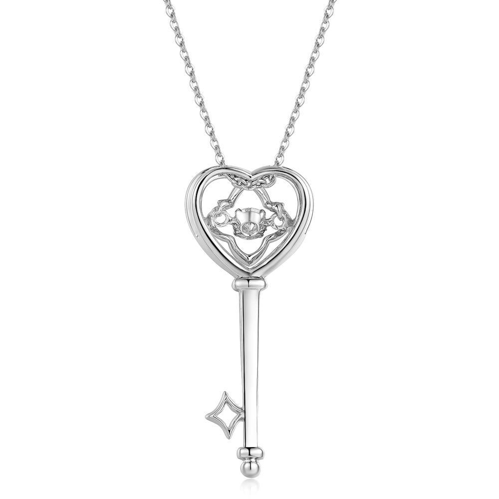 Heart-Key Pendant in 18k White Gold with Diamonds (0.19ct) Pendant IAD