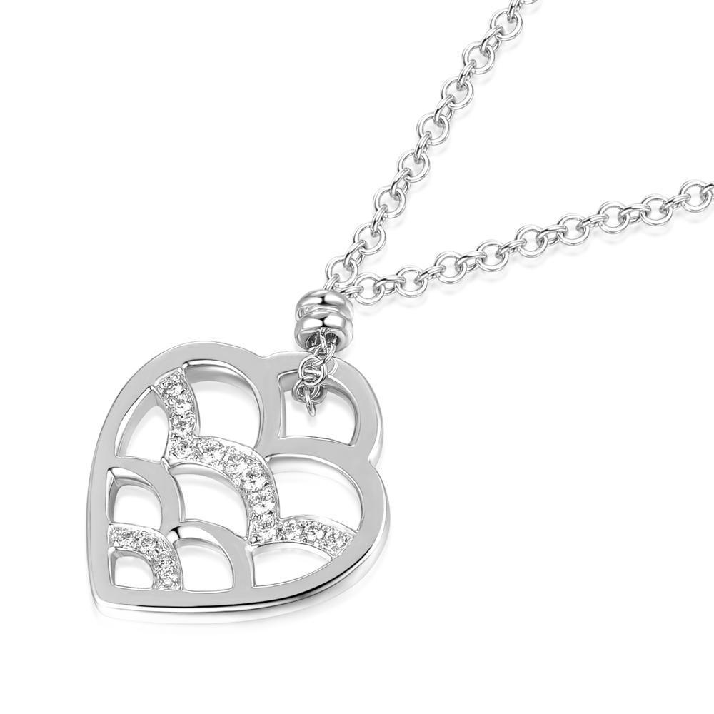 Heart Necklace in 18k White Gold with Diamonds (0.072ct) Necklace IAD