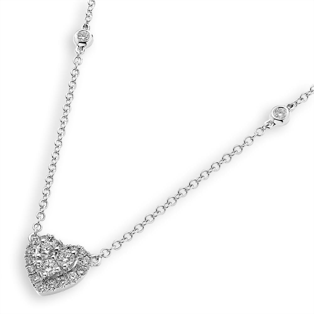 Heart Necklace in 18k White Gold with Diamonds (0.388ct) Necklace IAD