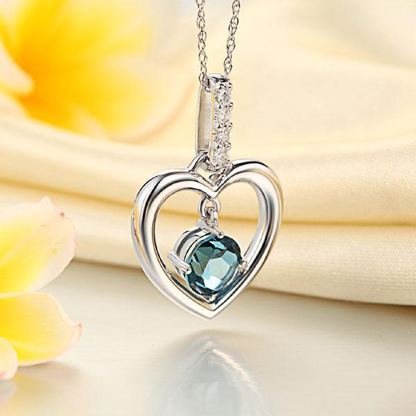 Heart Pendant in 14k White Gold with Heart-shaped London Blue Topaz (1.55ct) & Diamonds (0.04ct) 14K Gold Pendants Oanthan
