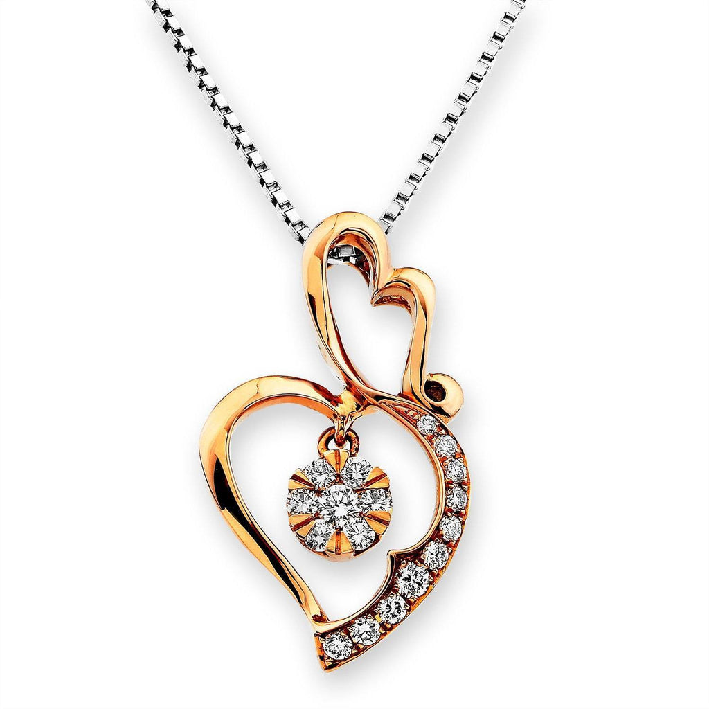 Heart Pendant in 18k Rose Gold with Diamonds (0.202ct) Pendant IAD