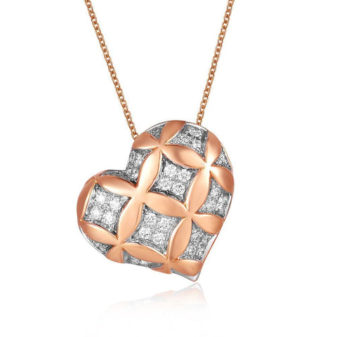 Leaf Pendant in 18k White & Rose Gold with Diamonds (0.209ct)
