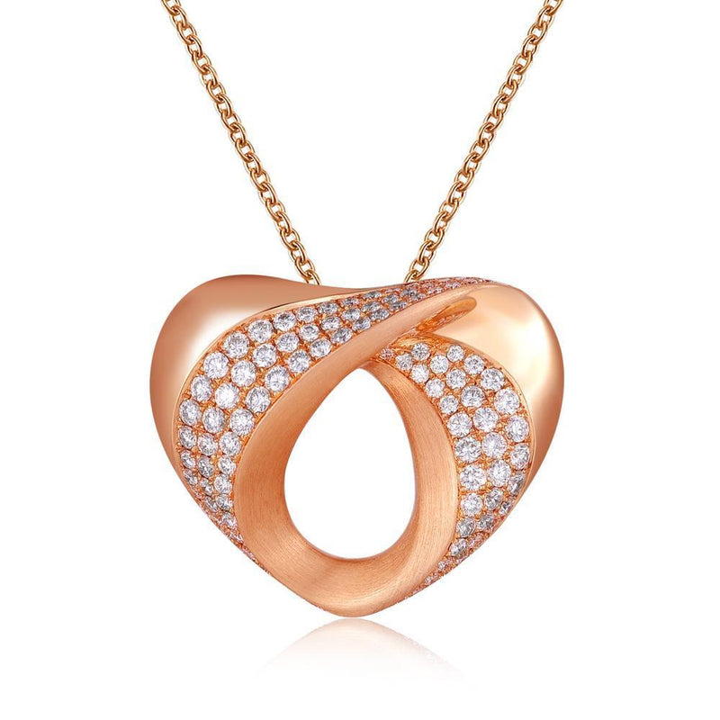 Heart Pendant in 18k Rose Gold with Diamonds (1.179ct) Pendant IAD