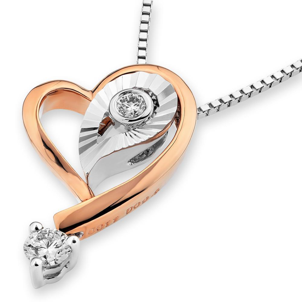 Heart Pendant in 18k White & Rose Gold with Diamonds (0.141ct) Pendant IAD