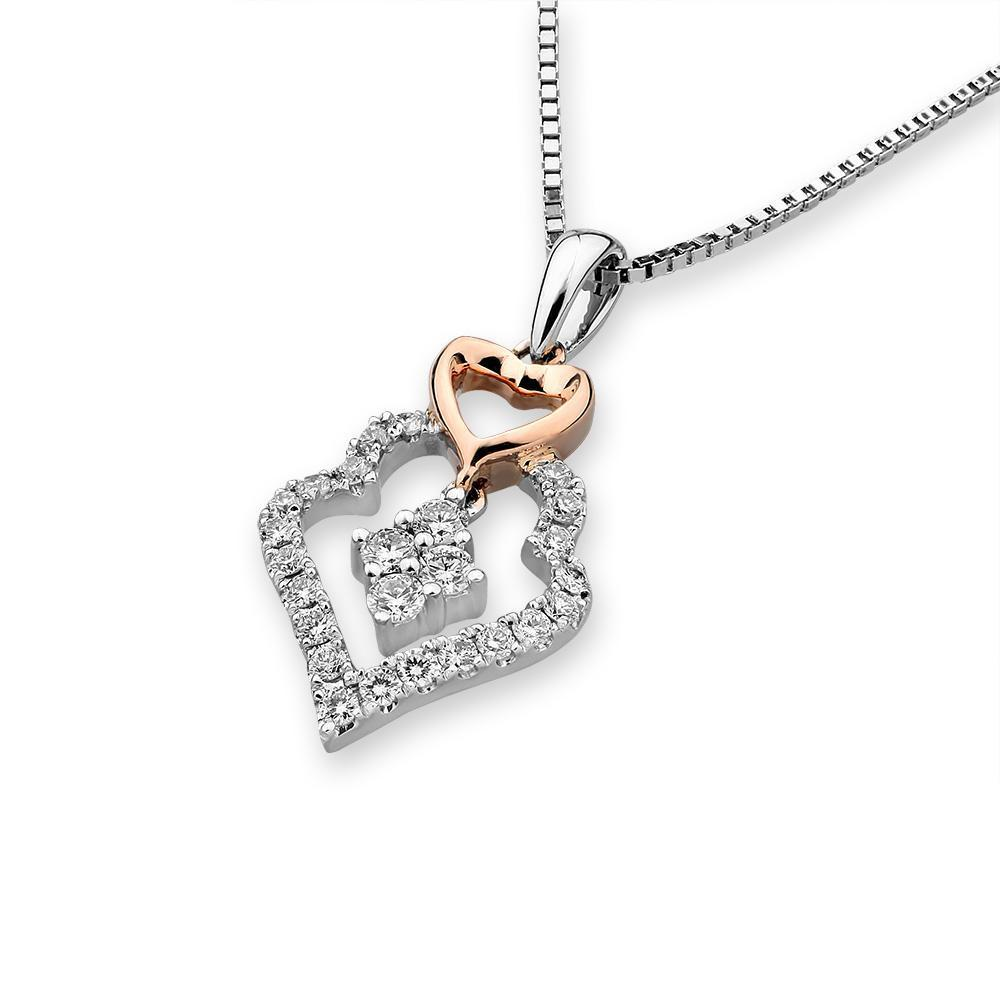 Heart Pendant in 18k White & Rose Gold with Diamonds (0.271ct) Pendant IAD