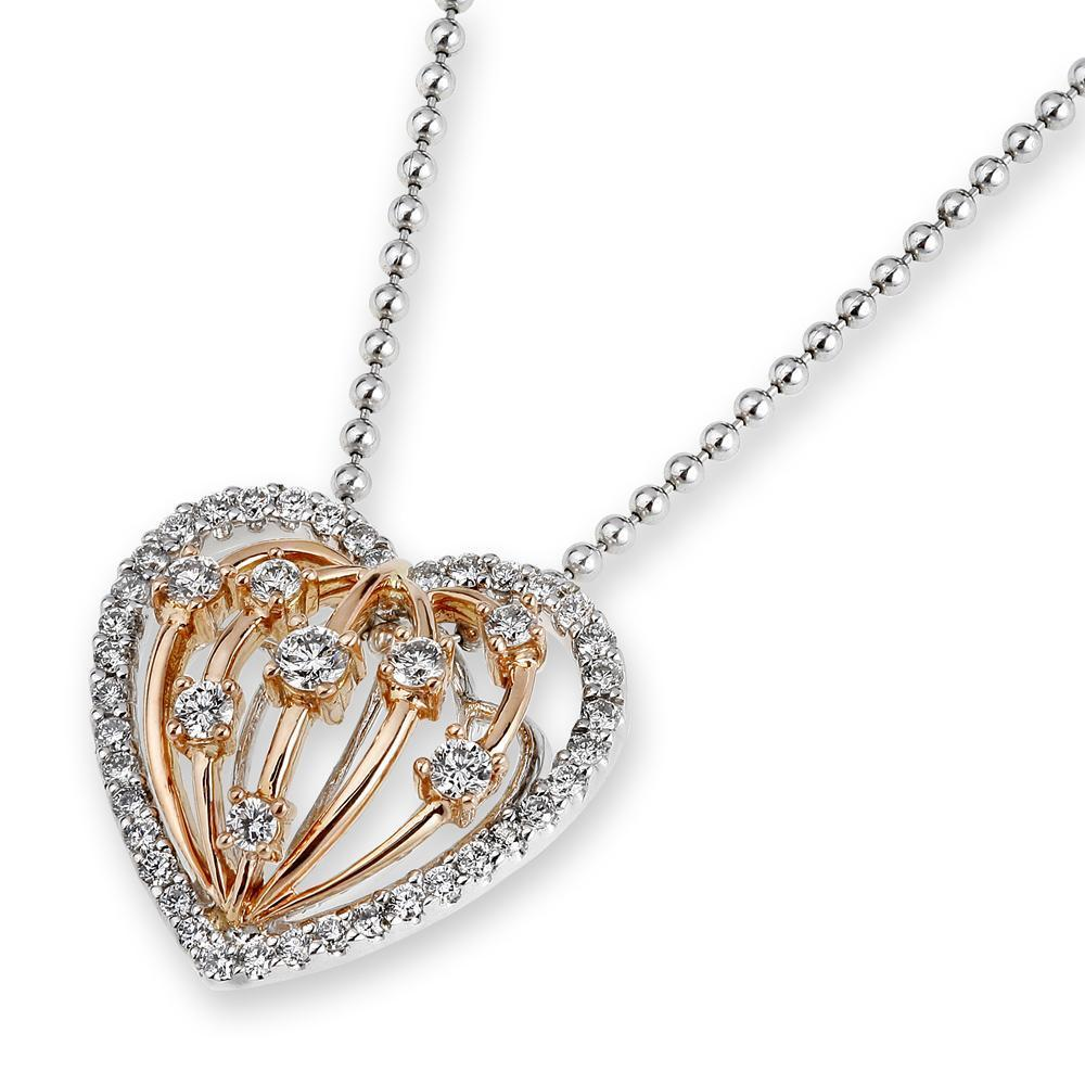 Heart Pendant in 18k White & Rose Gold with Diamonds (0.364ct) Pendant IAD