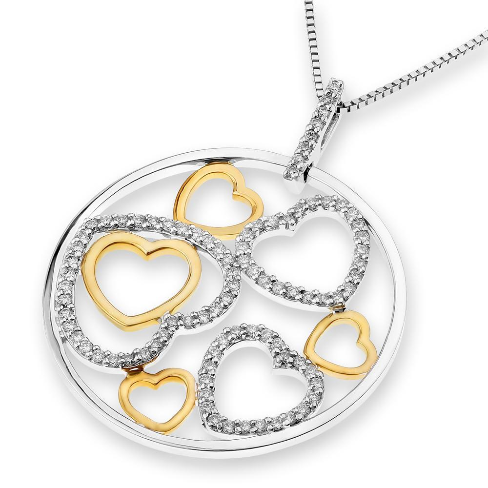 Heart Pendant in 18k White & Yellow Gold with Diamonds (0.435ct) Pendant IAD