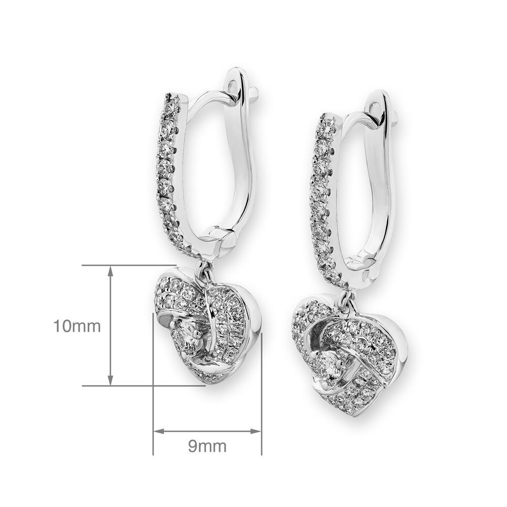 Heart Ribbon Earrings in 18k White Gold with Diamonds (0.487ct) Earrings IAD