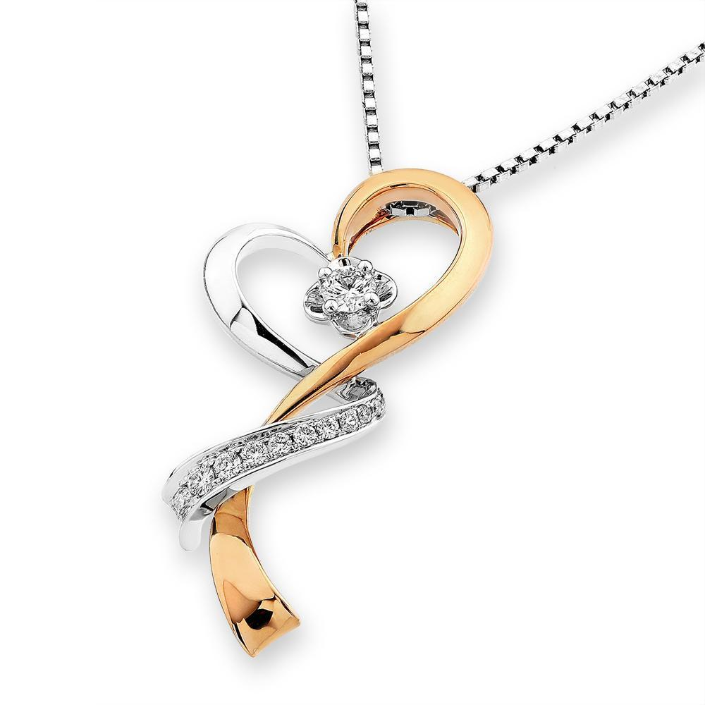 Heart Ribbon Pendant in 18k Rose & White Gold with Diamonds (0.156ct) Pendant IAD