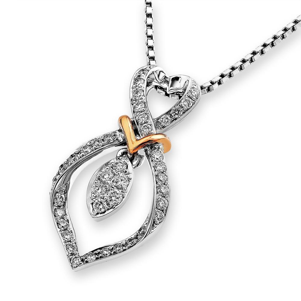 Heart Ribbon Pendant in 18k Rose & White Gold with Diamonds (0.211ct) Pendant IAD