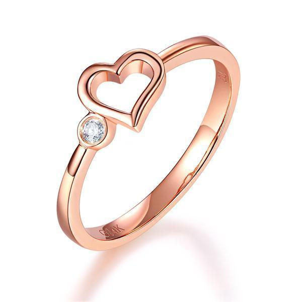 Heart Ring in 14k Rose Gold with Diamonds (0.02ct) Women Wedding Bands Oanthan 14k White Gold US Size 4