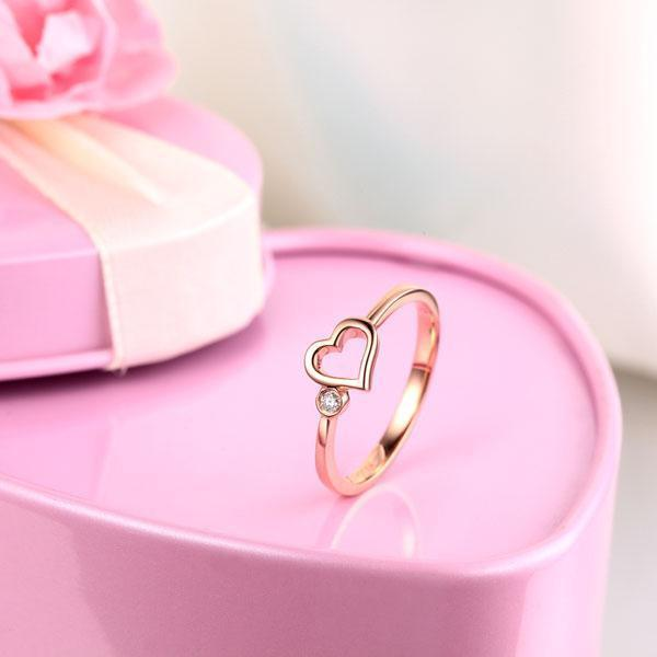Heart Ring in 14k Rose Gold with Diamonds (0.02ct) Women Wedding Bands Oanthan