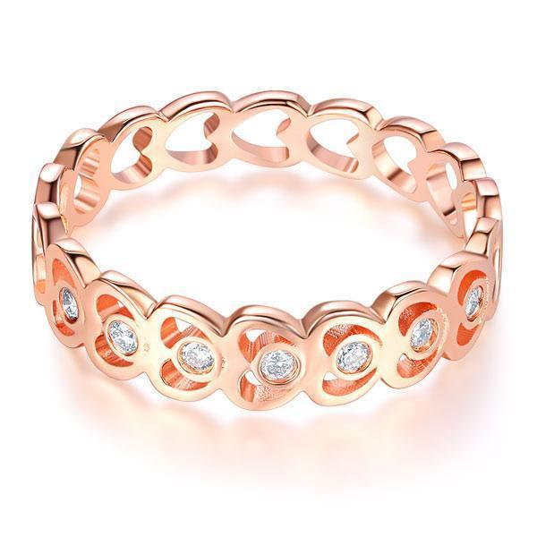 Heart Ring in 14k Rose Gold with Diamonds (0.07ct) Women Wedding Bands Oanthan