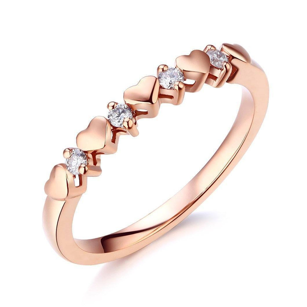 Heart Ring in 14k Rose Gold with Diamonds (0.11ct) Her Wedding Band Oanthan 14k White Gold US Size 4