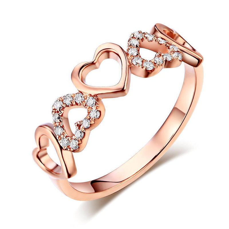 Heart Ring in 14k Rose Gold with Diamonds (0.12ct) Women Wedding Bands Oanthan 14k White Gold US Size 4