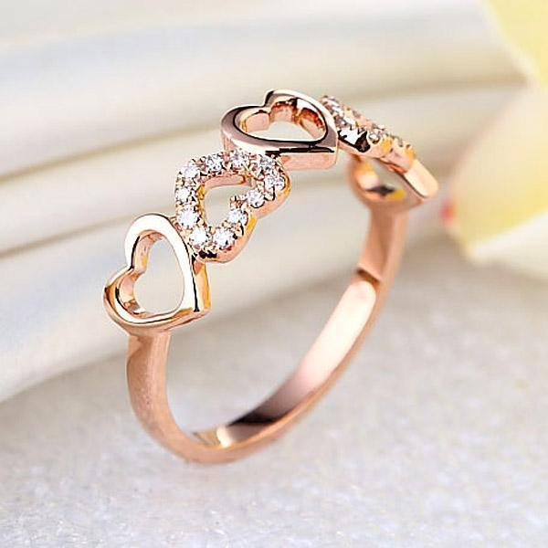 Heart Ring in 14k Rose Gold with Diamonds (0.12ct) Women Wedding Bands Oanthan