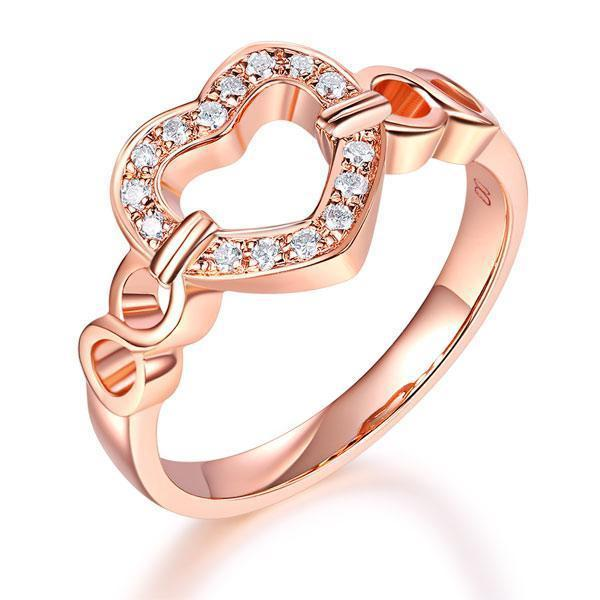 Heart Ring in 14k Rose Gold with Diamonds (0.1ct) Her Wedding Band Oanthan 14k White Gold US Size 4