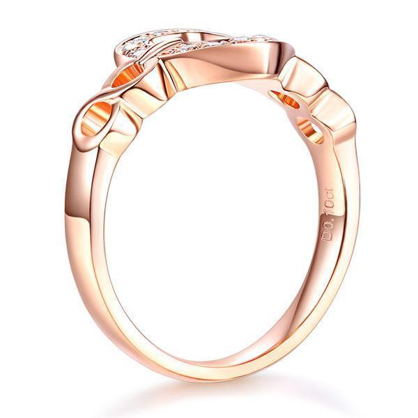 Heart Ring in 14k Rose Gold with Diamonds (0.1ct) Her Wedding Band Oanthan