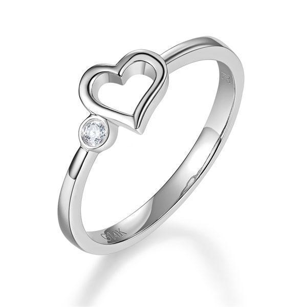 Heart Ring in 14k White Gold with Diamonds (0.022ct) Women Wedding Bands Oanthan 14k White Gold US Size 4