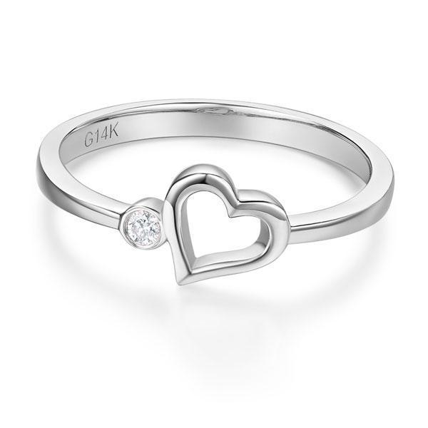 Heart Ring in 14k White Gold with Diamonds (0.022ct) Women Wedding Bands Oanthan