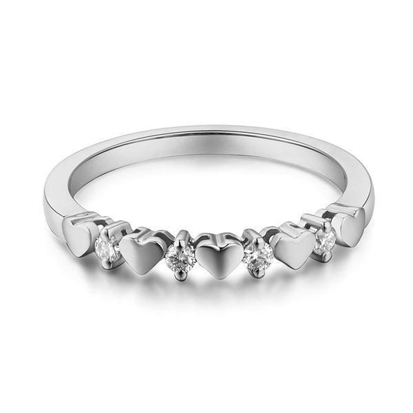 Heart Ring in 14k White Gold with Diamonds (0.11ct) Her Wedding Band Oanthan
