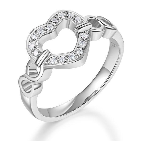 Heart Ring in 14k White Gold with Diamonds (0.1ct) Women Wedding Bands Oanthan 14k White Gold US Size 4