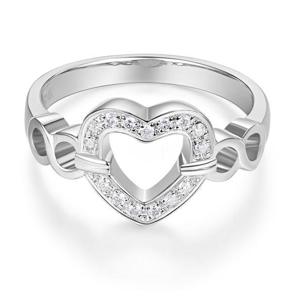 Heart Ring in 14k White Gold with Diamonds (0.1ct) Women Wedding Bands Oanthan