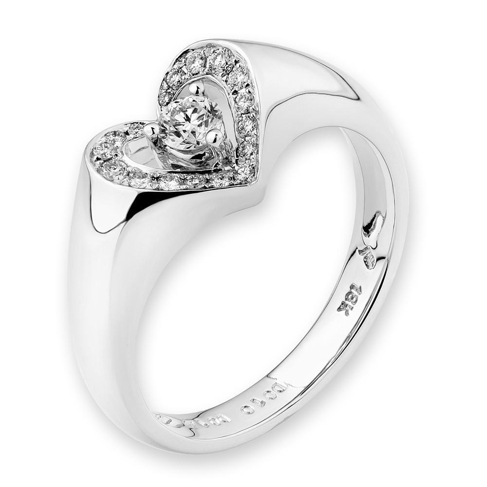 Heart Ring in 18k White Gold with Diamonds (0.23ct) Ring IAD