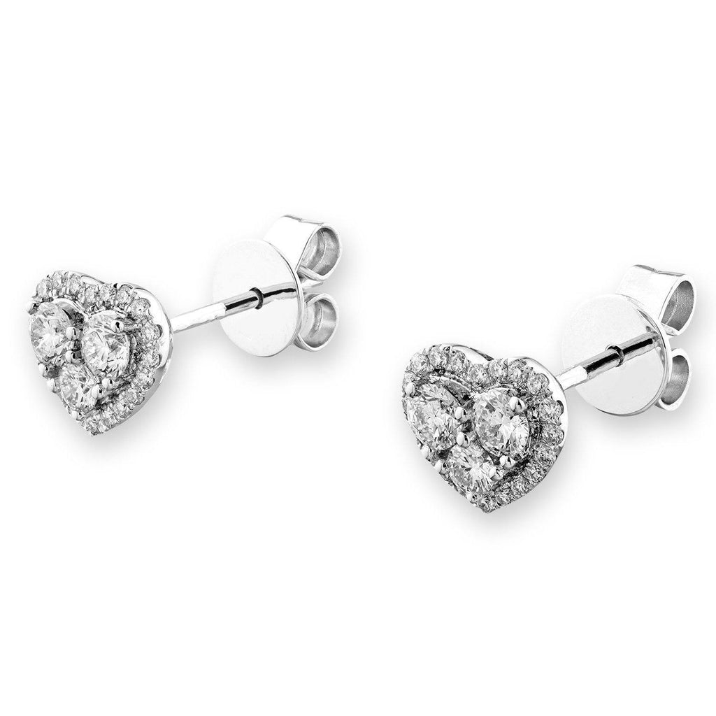 Heart Stud Earrings in 18k White Gold with Diamonds (0.592ct) Earrings IAD
