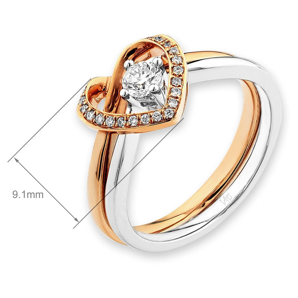 Heart Two-Piece Ring in 18k White & Rose Gold with Diamonds (0.211ct) Two-Piece Ring IAD