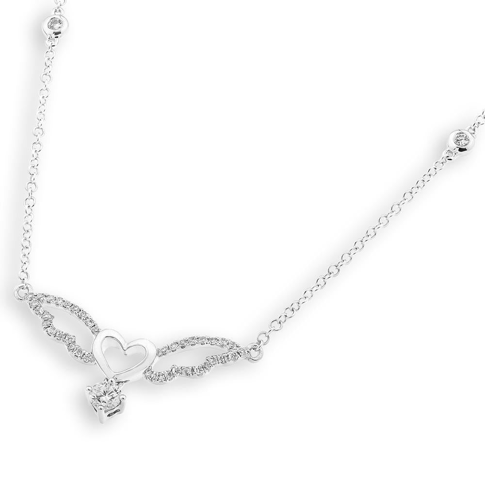 Heart Winged Necklace in 18k White Gold with Diamonds (0.306ct) Necklace IAD