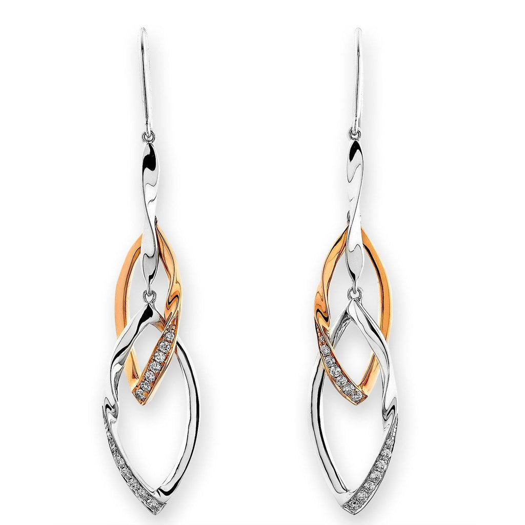Infinite Ribbons Earrings in 18k Rose & White Gold with Diamonds (0.162ct) Earrings IAD