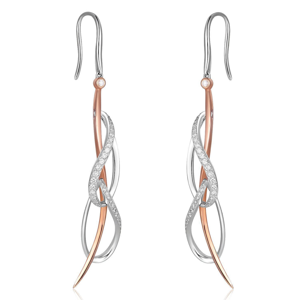 Infinite Ribbons Earrings in 18k Rose & White Gold with Diamonds (0.504ct) Earrings IAD