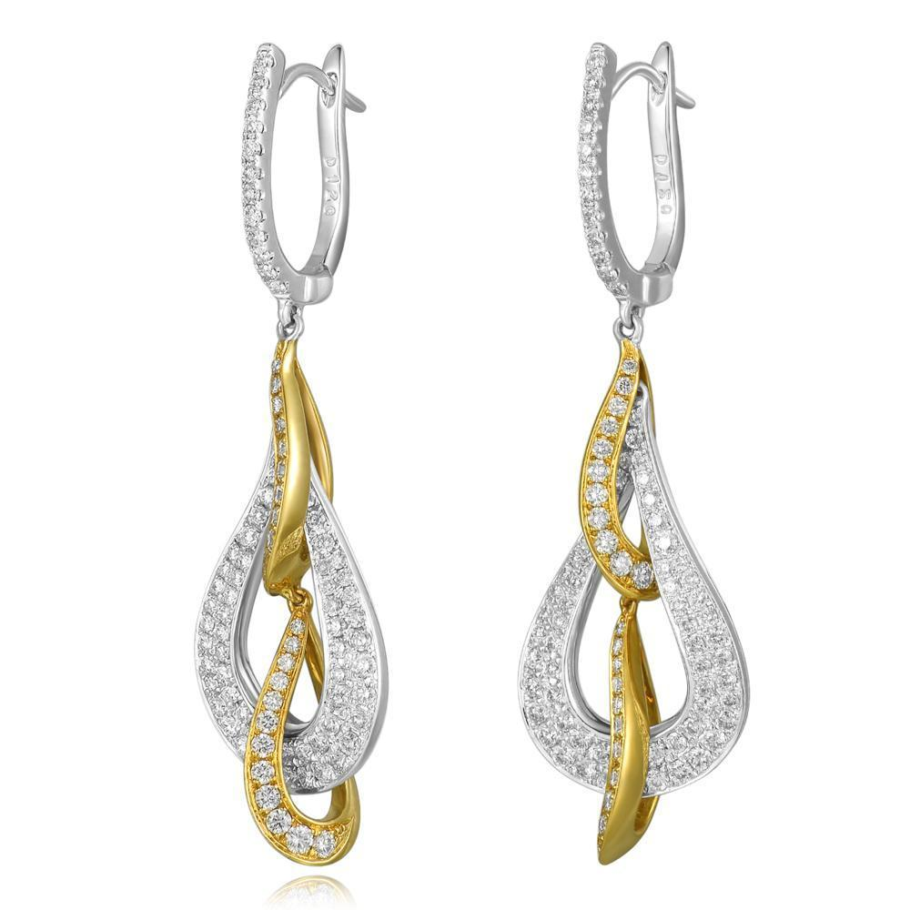 Infinite Ribbons Earrings in 18k Rose & White Gold with Diamonds (1.192ct) Earrings IAD