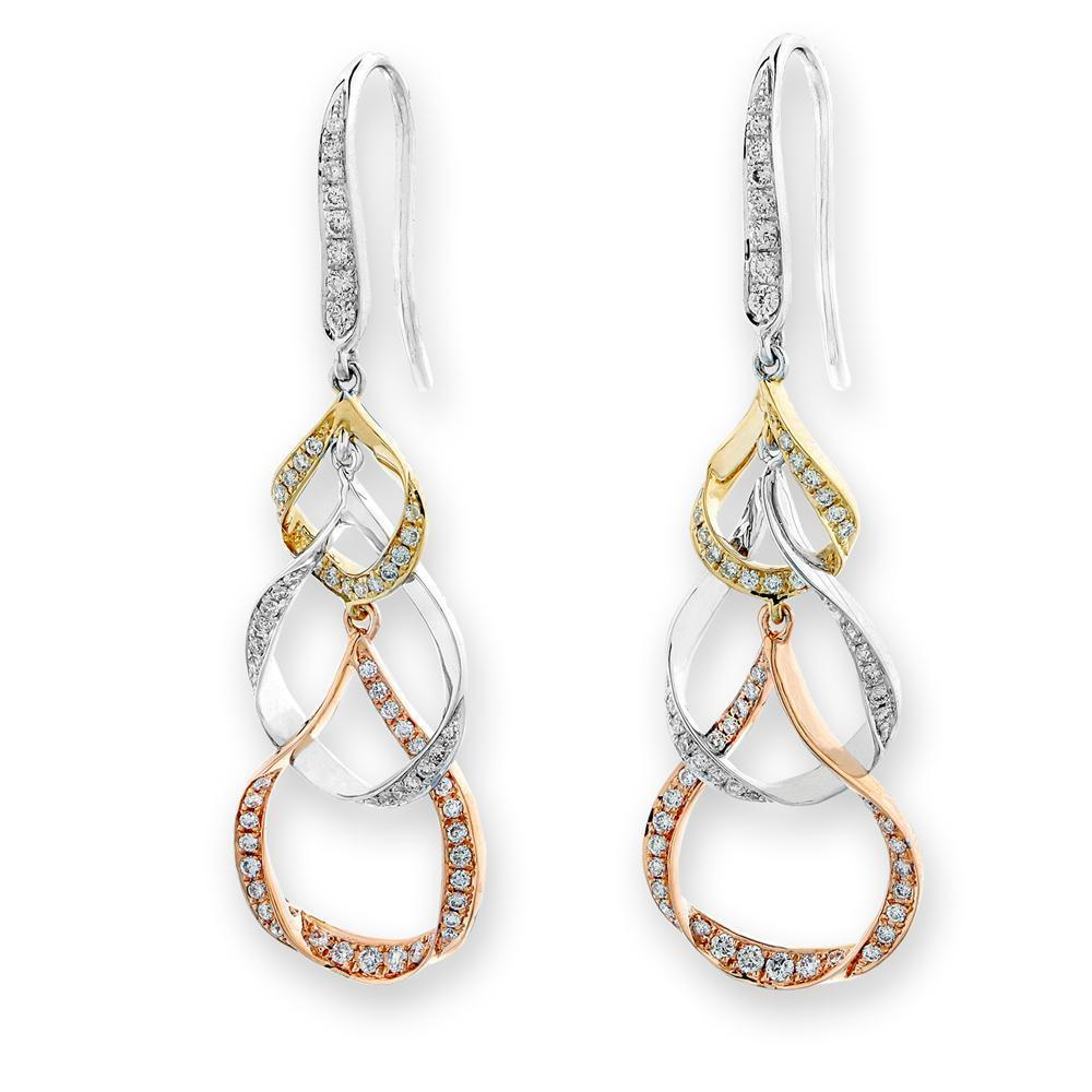 Infinite Ribbons Earrings in 18k Rose, Yellow & White Gold with Diamonds (0.45ct) Earrings IAD