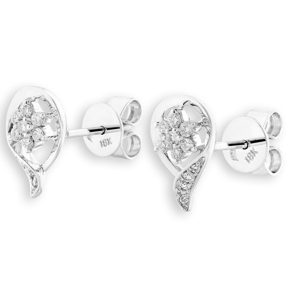 Infinite Ribbons Earrings in 18k White Gold with Diamonds (0.177ct) Earrings IAD